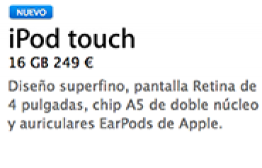 iPod touch 16GB 249 euros - thumbnail