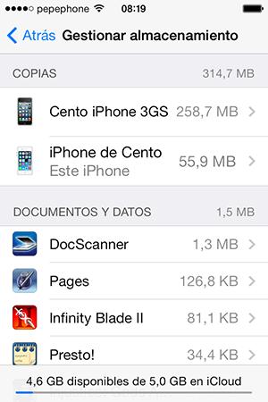Gestionar Almacenamiento iCloud iOS 7