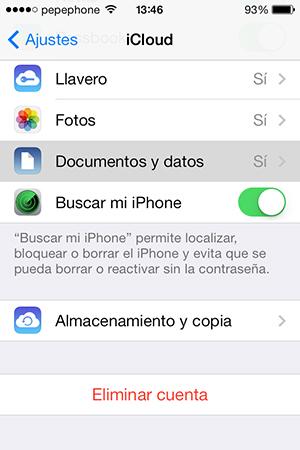 Configurar Documentos iCloud iPhone
