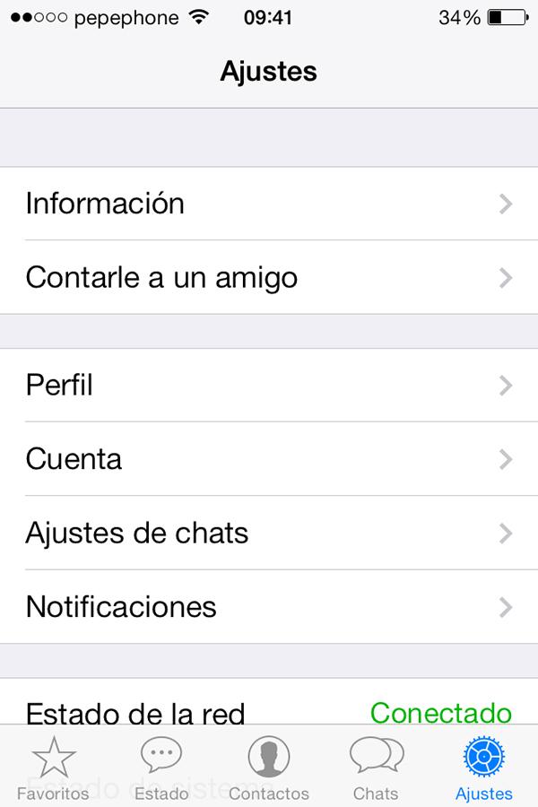 WhatsApp iOS 7 - Ajustes