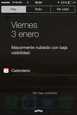 Centro Notificaciones Tiempo iOS 7
