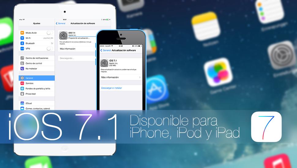 iOS 7.1 Disponible iPhone iPad