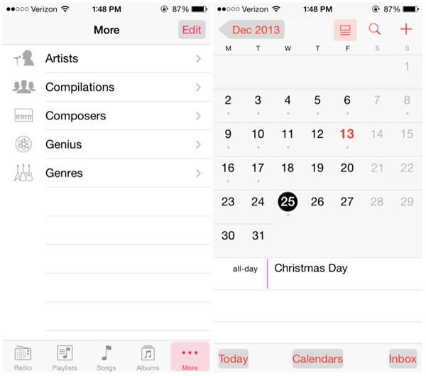 iOS 7.1 Beta 2 Novedades - Musica Calendario